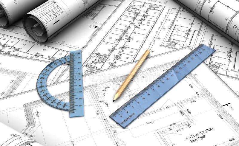Projeto arquitectónico ilustração do vetor