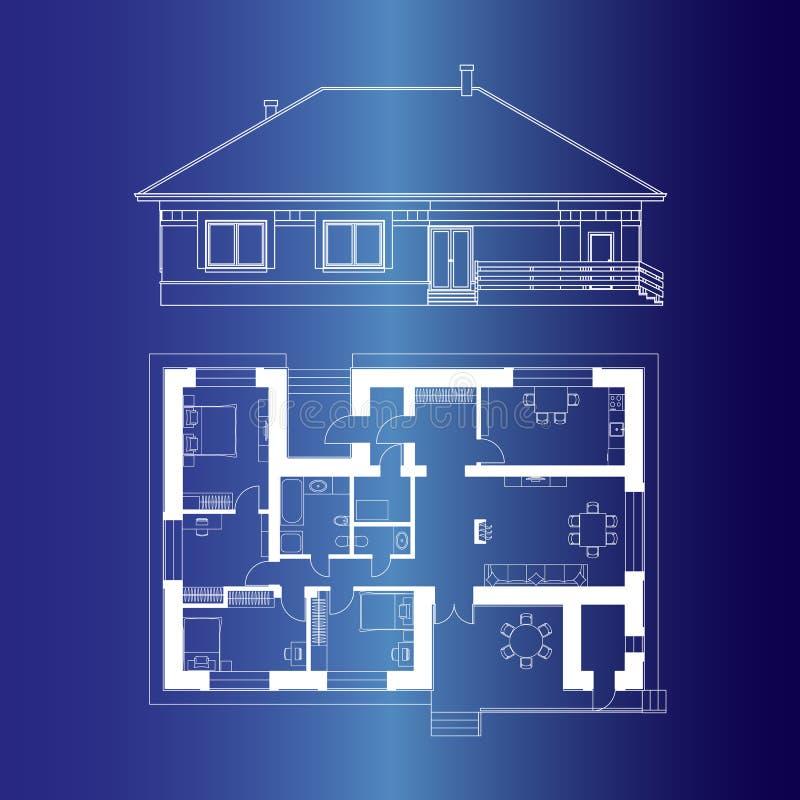 Projeto arquitetónico de uma casa Tiragem da fachada e da planta baixa da casa de campo ilustração stock