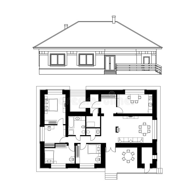 Projeto arquitetónico de uma casa Tiragem da fachada e da planta baixa da casa de campo ilustra??o real?stica do vetor ilustração stock