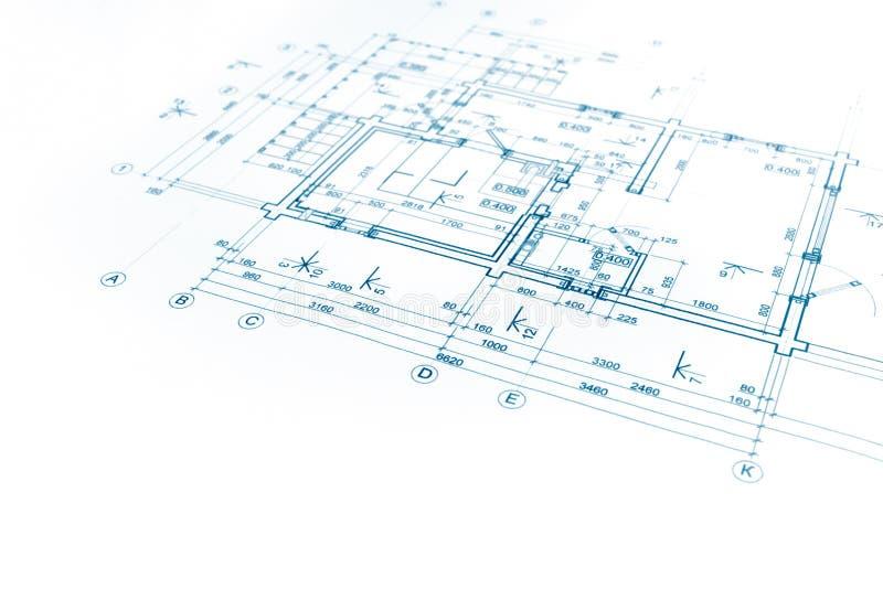 Projeto arquitetónico, modelo da planta baixa, plano da construção, fotos de stock royalty free
