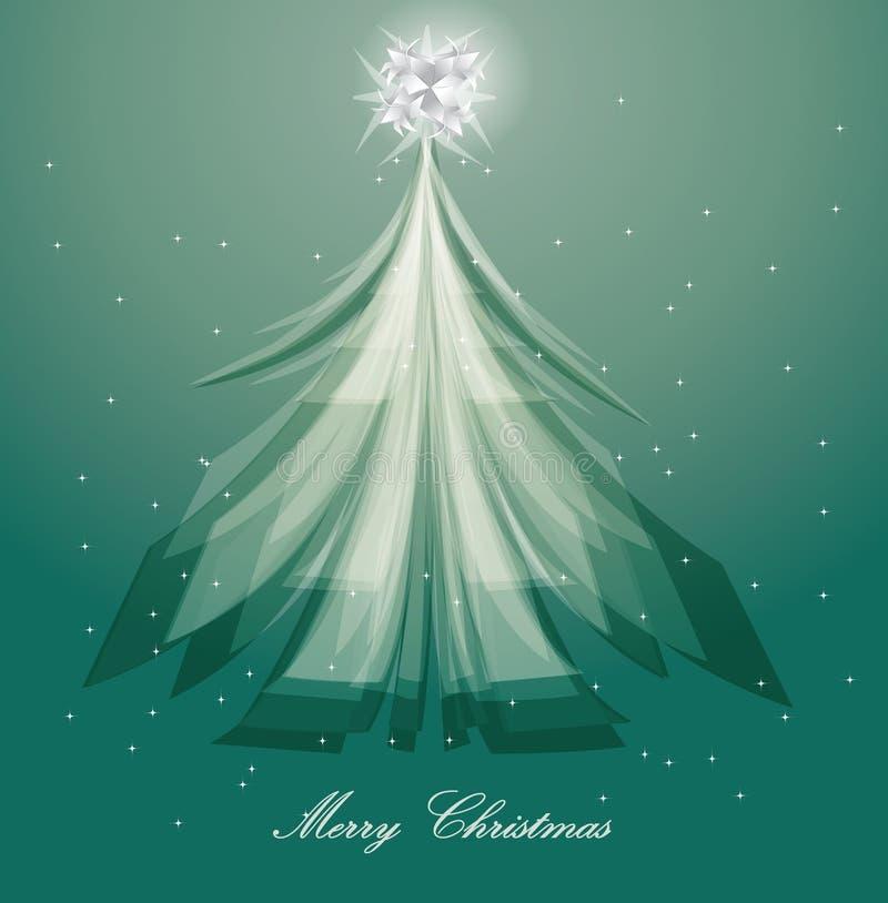Projeto artístico da árvore de Natal no fundo azul ilustração stock