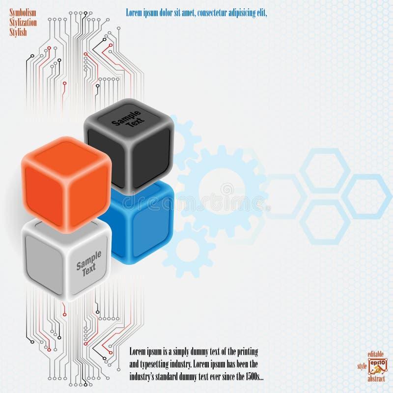 Projeto artístico de três cubos das dimensões com circuitos eletrônicos ilustração stock