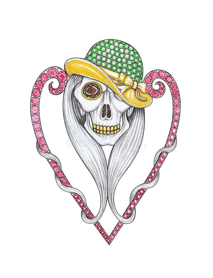 Projeto Art Fancy Heart Skull Brooch da joia ilustração stock