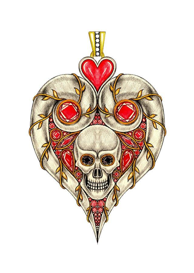 Projeto Art Heart Skull Pendant da joia ilustração royalty free