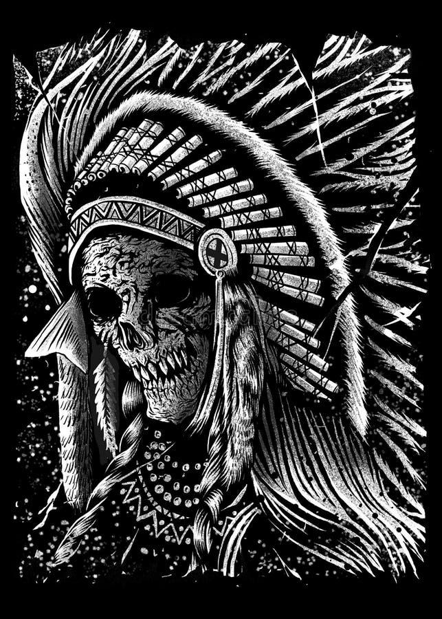 Projeto Art Illustration do crânio de Apache ilustração royalty free