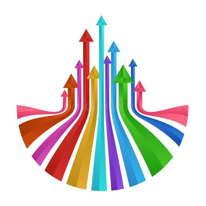 Projeto ascendente colorido do sumário do vetor de prisma das setas ilustração royalty free