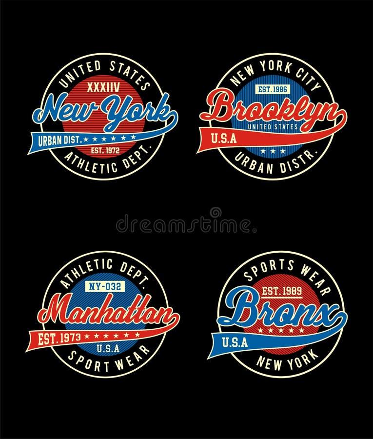 Projeto atlético ajustado da tipografia do sportswear ilustração royalty free