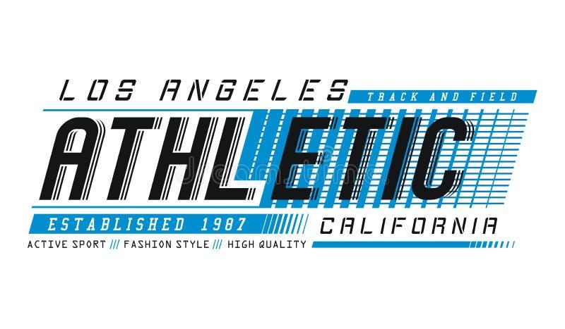 Projeto atlético da tipografia de Los Angeles para t-shirt e outros usos Ilustrador da imagem do vetor ilustração stock