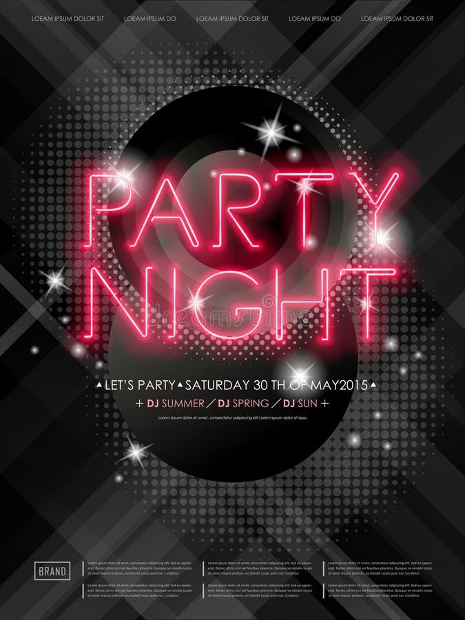 Projeto atrativo do cartaz da noite do partido ilustração stock