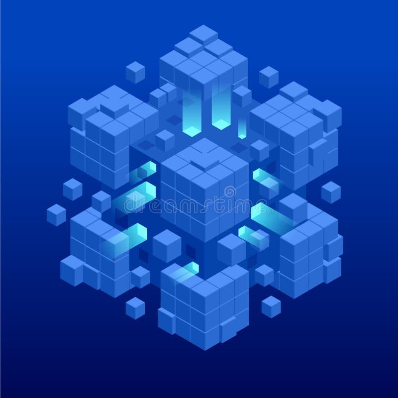 Projeto azul abstrato isométrico do cubo Bandeira da Web da tecnologia de Digitas Algoritmos de aprendizagem GRANDES da m?quina d ilustração do vetor