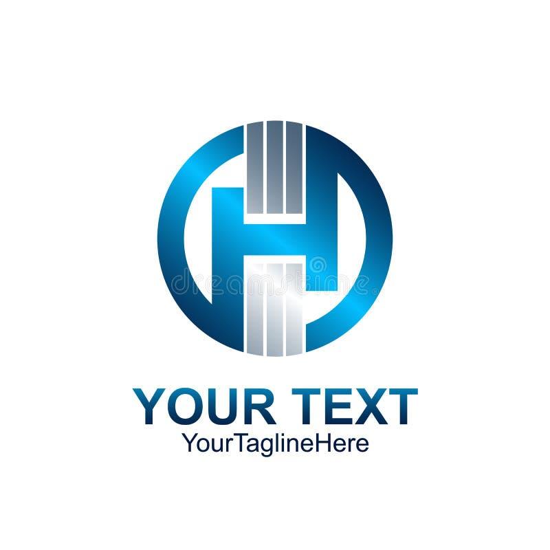 Projeto azul colorido molde do círculo do logotipo da letra inicial H para bu ilustração do vetor