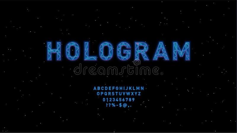 Projeto azul da fonte de vetor de HUD do holograma futurista Alfabeto inglês com efeito do holograma Letras do estilo da olá!-tec ilustração stock