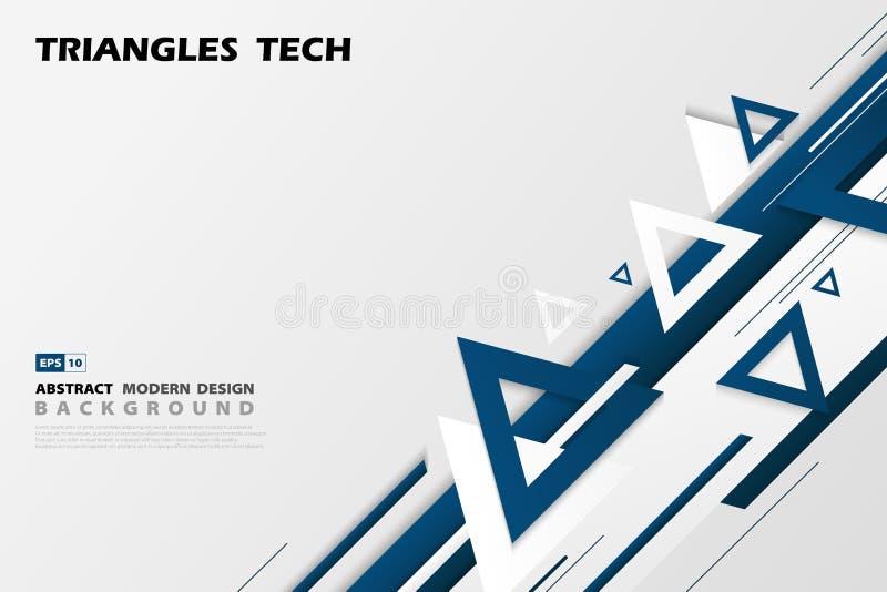 Projeto azul da sobreposição da tecnologia dos triângulos do inclinação do sumário do estilo futurista do teste padrão Vetor eps1 ilustração stock