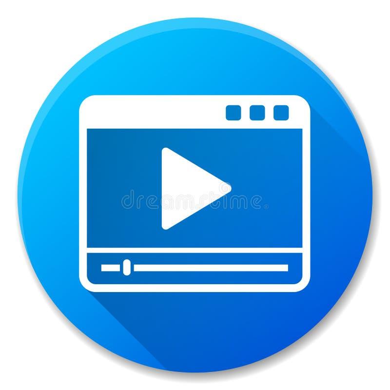 Projeto azul do ícone do reprodutor multimedia ilustração do vetor