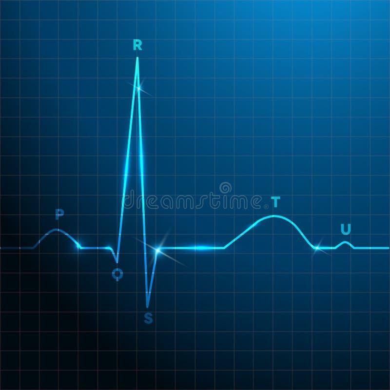 Projeto azul do fundo do ritmo normal do coração ilustração stock