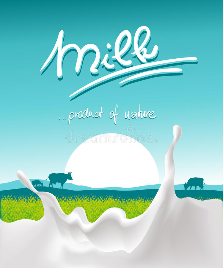 Projeto azul do leite com respingo do leite, animal de exploração agrícola e por do sol - vetor ilustração royalty free