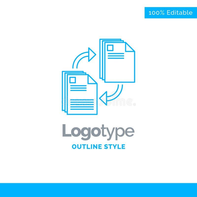 Projeto azul do logotipo para compartilhar, parte, arquivo, documento, copiando Bu ilustração stock