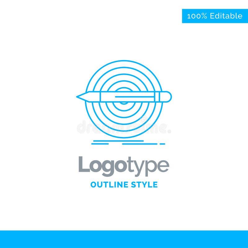 Projeto azul do logotipo para o projeto, objetivo, lápis, grupo, alvo Negócios ilustração stock