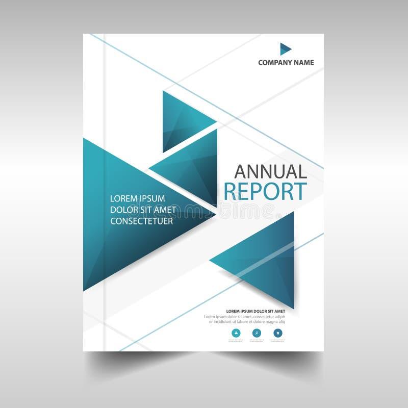 Projeto azul do molde do informe anual do inseto do folheto do folheto do negócio do triângulo, projeto da disposição da capa do
