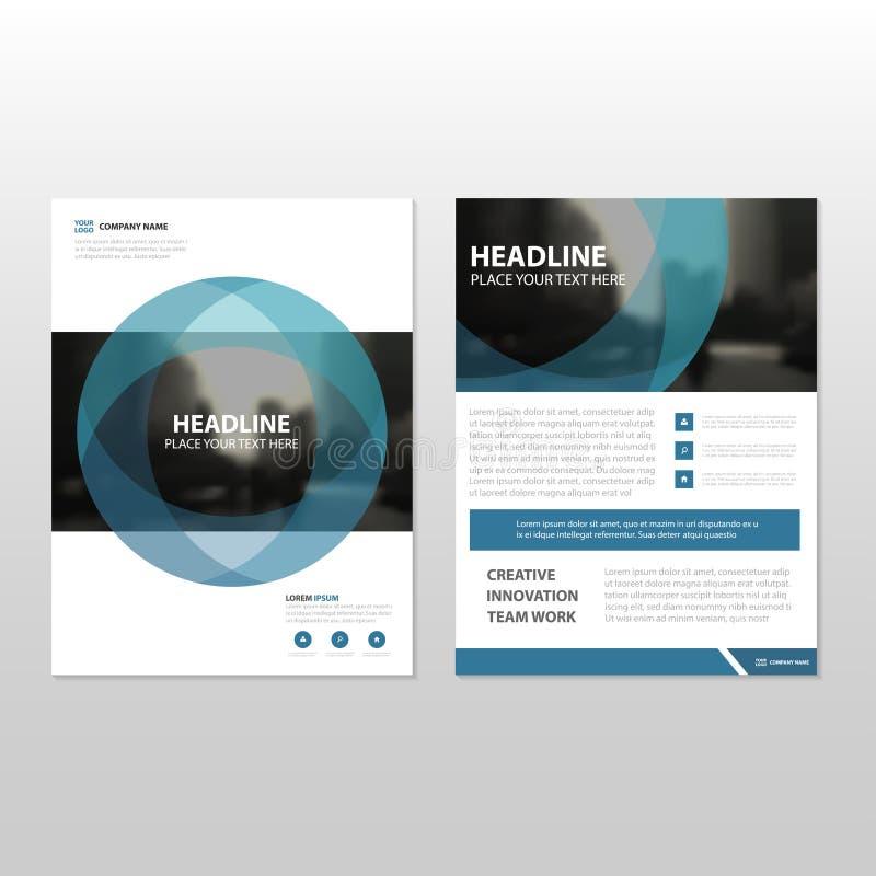 Projeto azul do molde do inseto do folheto do folheto do informe anual do vetor do círculo ilustração royalty free