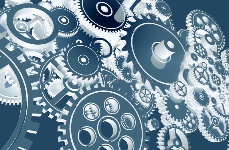 Projeto azul fresco das engrenagens ilustração royalty free
