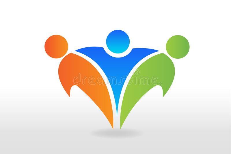 Projeto bem sucedido do vetor dos povos da amizade do logotipo ilustração royalty free