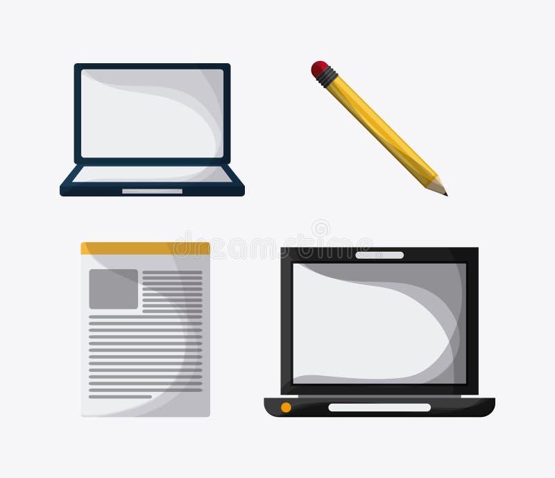 Projeto Blogging Ícone dos meios Ilustração colorida, vetor ilustração royalty free