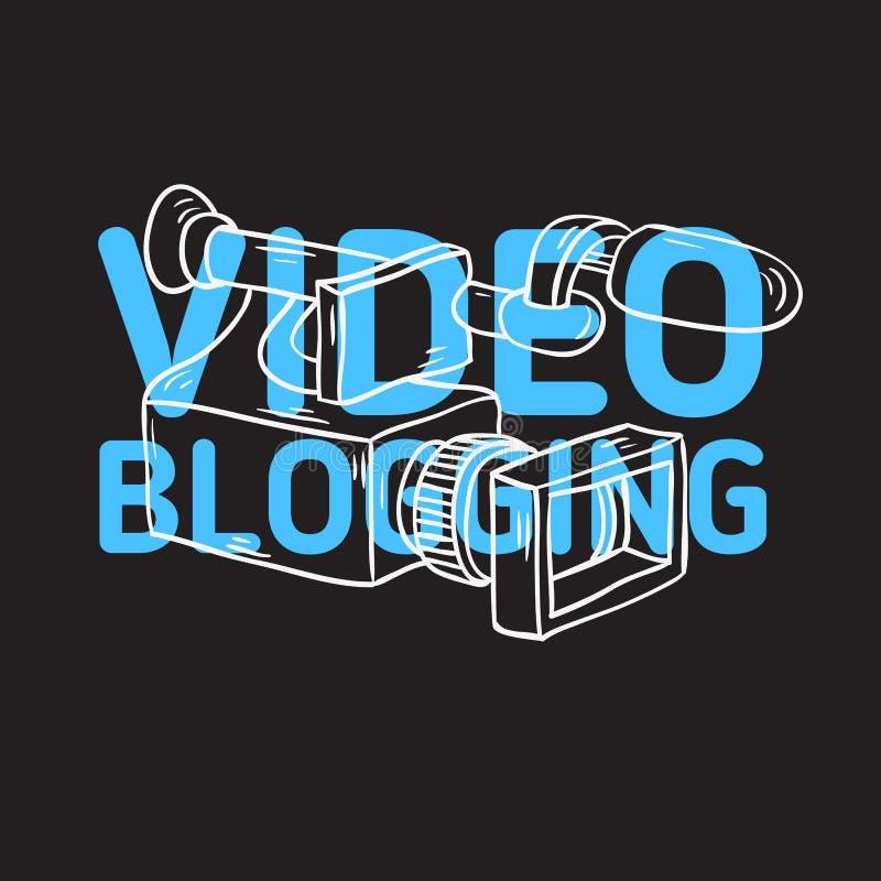 Projeto Blogging video com linha esboçado tirada Art Style Drawings dos desenhos animados da câmara de vídeo mão artística ilustração do vetor