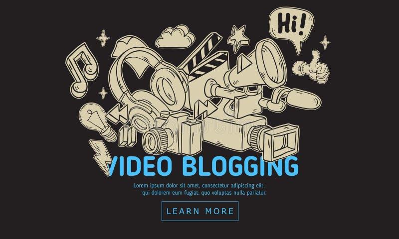 Projeto Blogging video da tampa da Web com elementos relacionados essenciais isolados dos objetos e a mão artística dos desenhos  ilustração stock