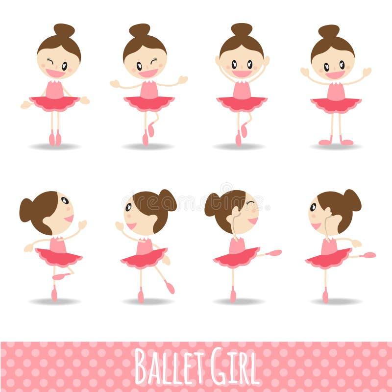 projeto bonito cor-de-rosa do vetor dos desenhos animados do bailado da menina de 8 ações ilustração royalty free