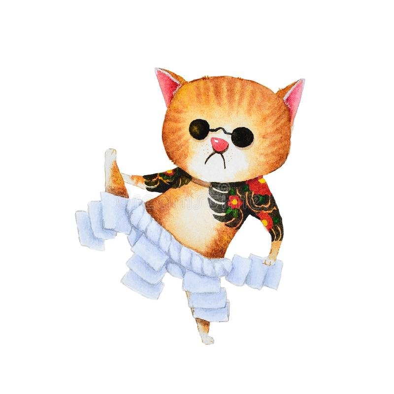 Projeto bonito da arte dos desenhos animados do gato da pintura da aquarela do grupo japonês de yakuza ilustração do vetor