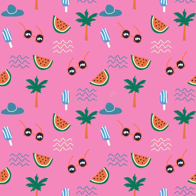 Projeto bonito da garatuja do verão do divertimento colorido para a cópia de matéria têxtil das crianças ilustração royalty free