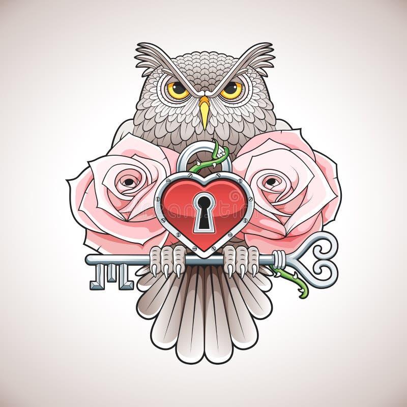 Projeto bonito da tatuagem da cor de uma coruja que guarda uma chave com um medalhão do coração e umas rosas cor-de-rosa ilustração royalty free