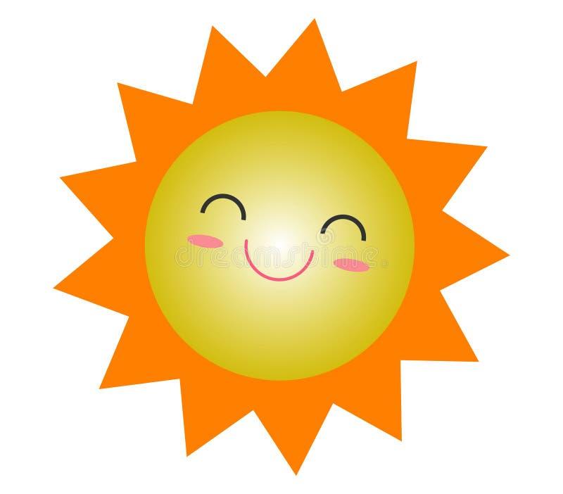 Projeto bonito do ícone do verão do sol dos desenhos animados, símbolo amarelo de sorriso do sol, ícone do tempo de Sun ilustração royalty free