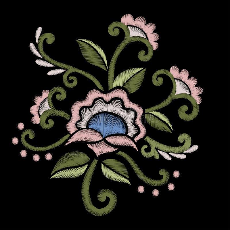 Projeto bonito do bordado dos wildflowers para o decote Vetor conservado em estoque ilustração do vetor