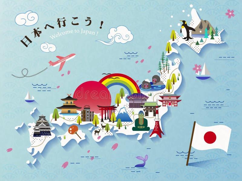 Projeto bonito do mapa do curso de Japão ilustração do vetor
