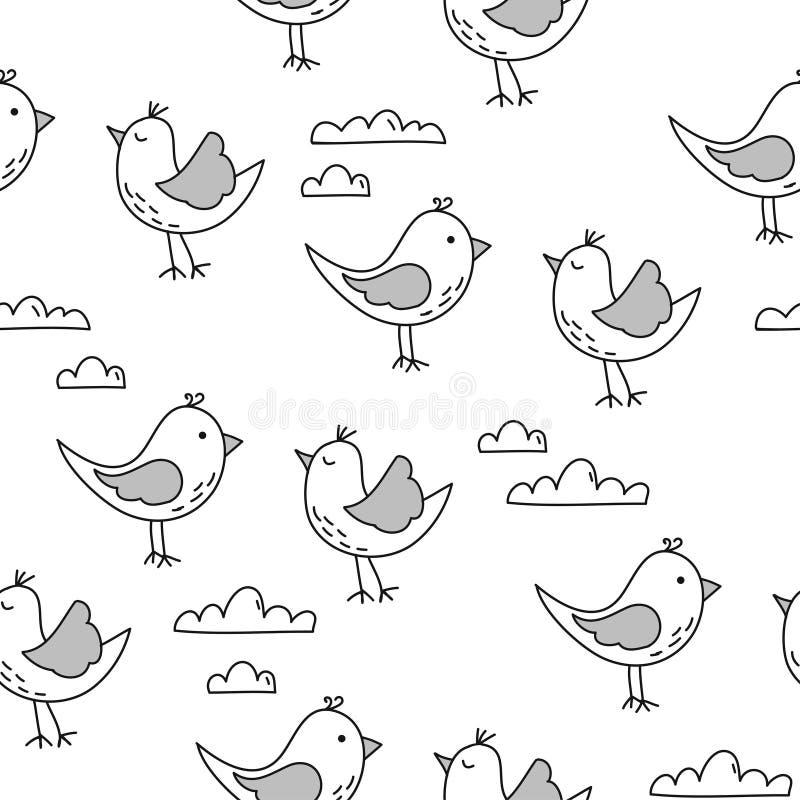 Projeto bonito do teste padrão dos pássaros com nuvens ilustração stock