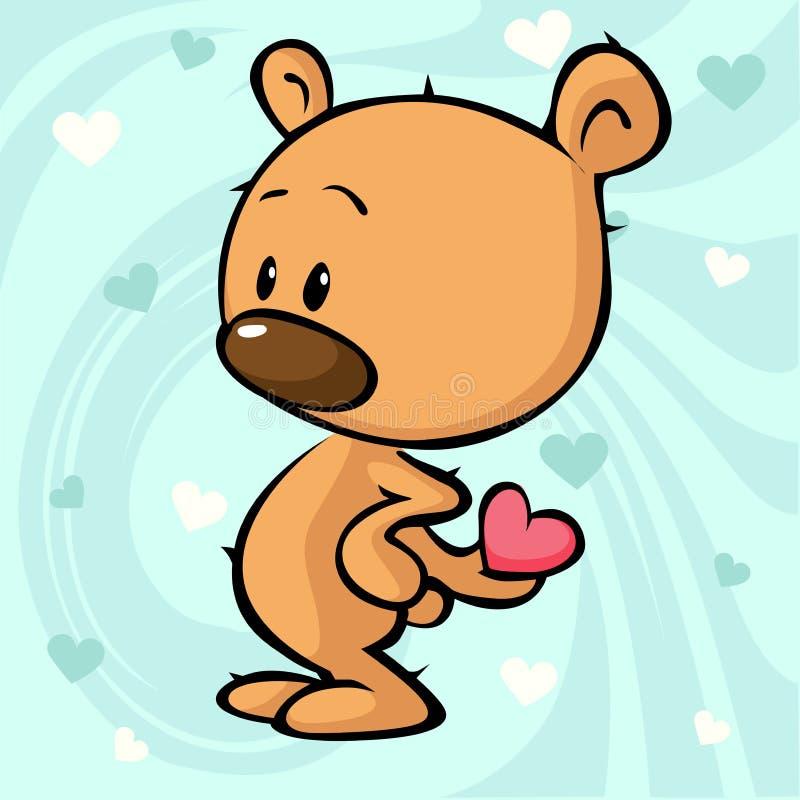 Projeto bonito do urso de peluche - vector a ilustração no sumário ilustração stock