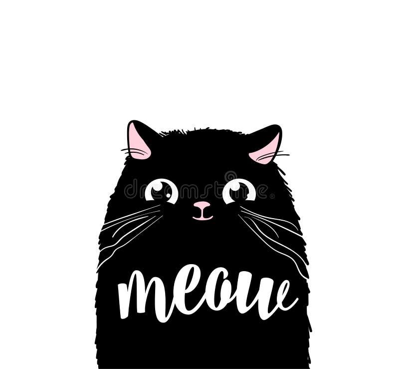 Projeto bonito preto da cópia do vetor do gato Texto da rotulação do miado Fundo do vetor da cara do gatinho Desenhos animados de ilustração royalty free