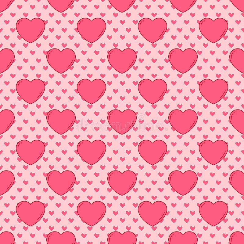 Projeto bonito sem emenda simples do vetor nos Valentim de tamanhos e do rosa diferentes para o projeto dos convites do fundo e d ilustração do vetor