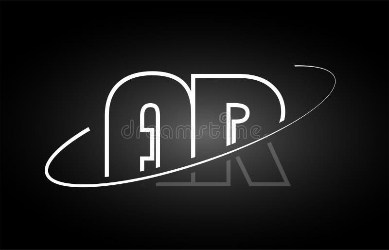 Projeto branco do ícone do preto do logotipo do alfabeto da letra da AR A R ilustração do vetor