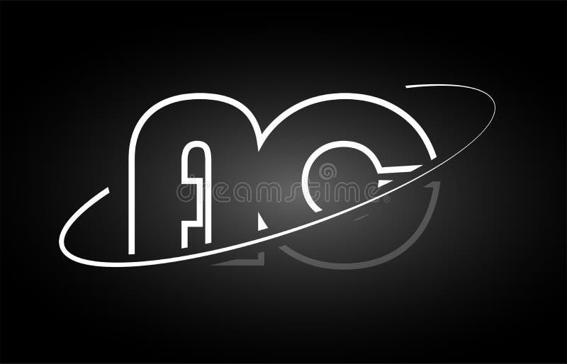 Projeto branco do ícone do preto do logotipo do alfabeto da letra da A.A. da C.A. ilustração do vetor