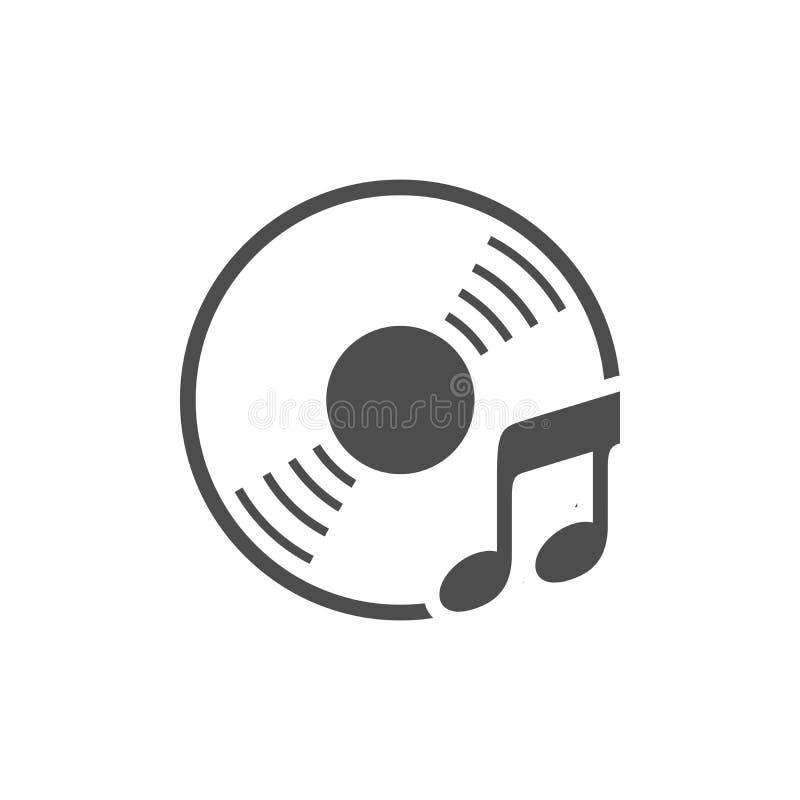 Projeto branco do ícone simples da música do CD audio ilustração stock