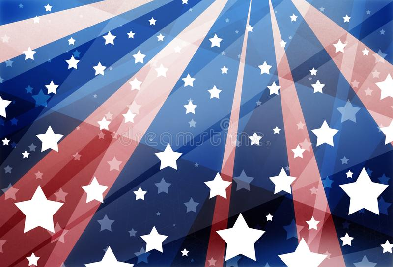 Projeto branco e azul vermelho do fundo com a bandeira dos Estados Unidos na disposição abstrata geométrica moderna, listrado tra ilustração royalty free