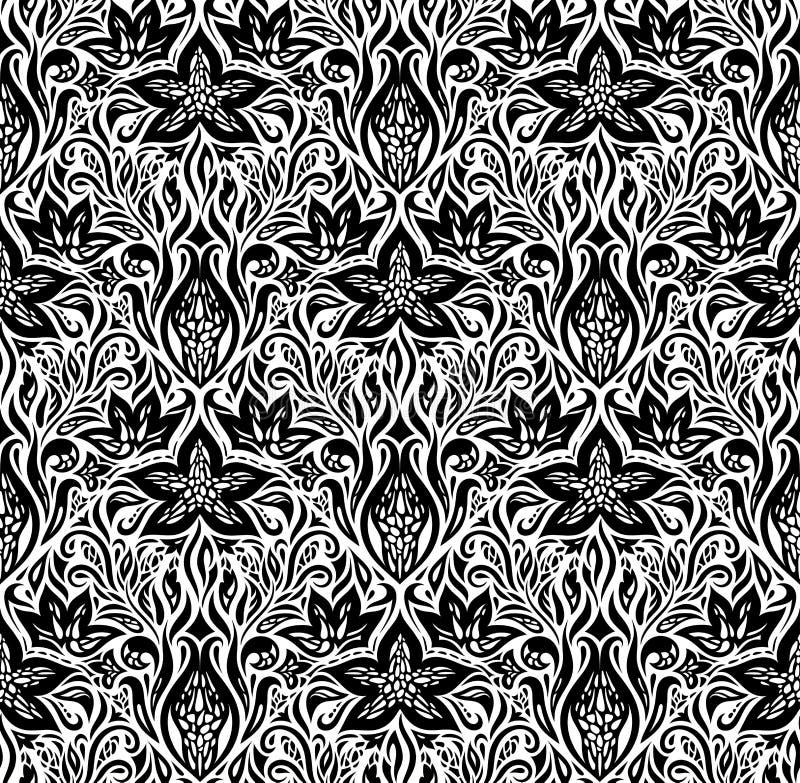 Projeto branco preto floral decorativo do papel de parede ilustração do vetor