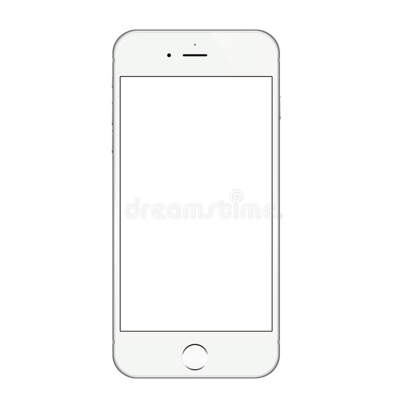 Projeto branco realístico do vetor da tela vazia do iphone 6