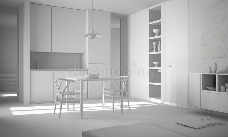 Projeto branco total, cozinha brilhante moderna minimalista com mesa de jantar e cadeiras, interior da arquitetura ilustração royalty free