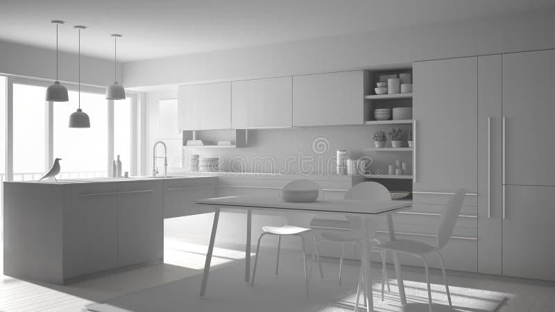 Projeto branco total da cozinha minimalistic moderna com mesa de jantar, tapete e a janela panorâmico, interior da arquitetura ilustração stock