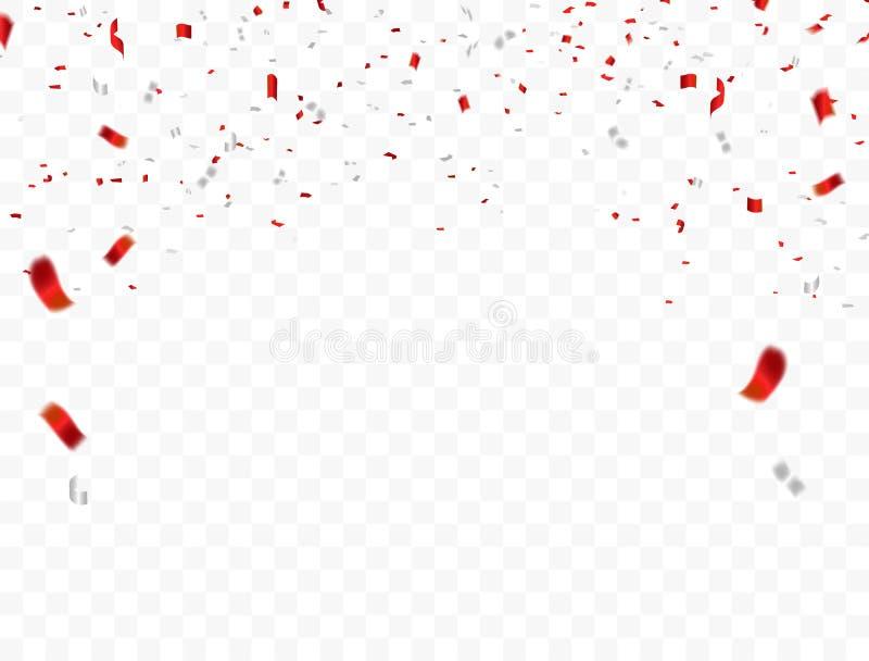 Projeto branco vermelho, fundo do cumprimento de August Happy Independence Day do conceito 17 dos confetes Ilustração do vetor da ilustração do vetor