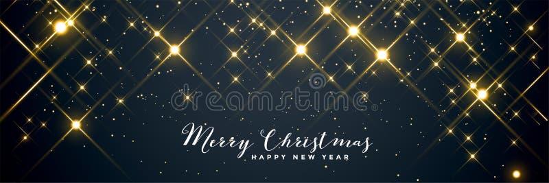 Projeto brilhante da bandeira do Feliz Natal dos sparkles ilustração stock